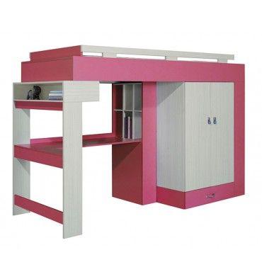 Lit combin bureau enfant LIBELLULE rose chambre Mava