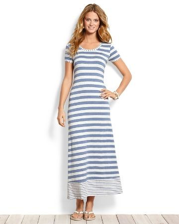 I own this dress, much cuter in person but kinda heavy, great linen fabric, though. Tommy Bahama - Seaside Stripe T-Shirt Maxi Dress