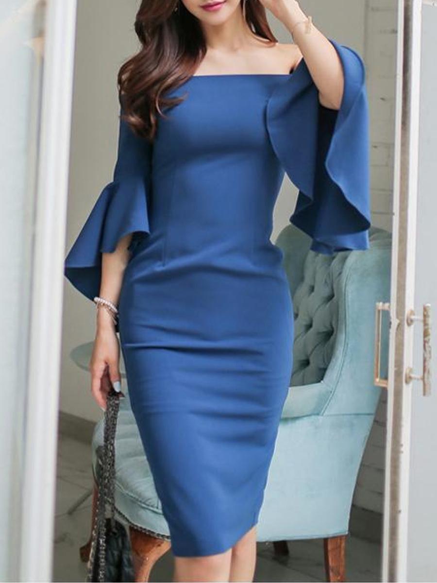 8d9ebe50994  EnvyWe  BerryLook -  berrylook Open Shoulder Plain Bell Sleeve Bodycon  Dress - EnvyWe.com