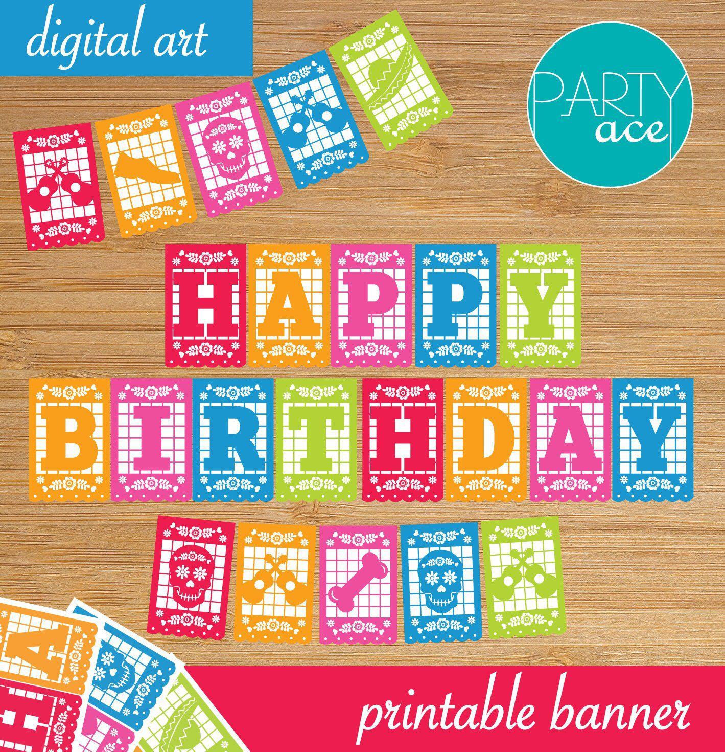 Mexican Happy Birthday Printable Banner For Party Decoration