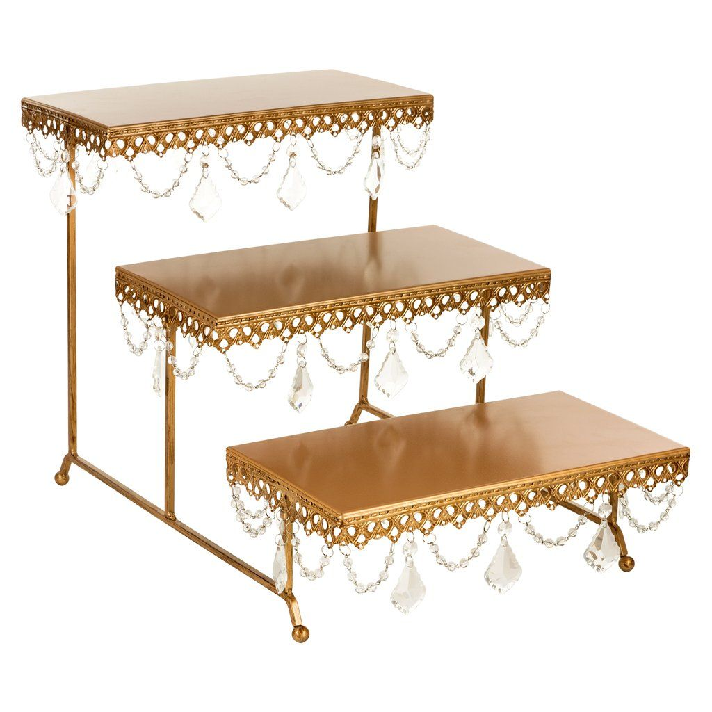 3 Tier Serving Platter And Cupcake Stand With Crystals Gold