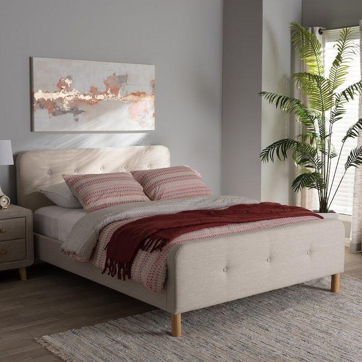 Baxton studio midcentury upholstered bed upholstered