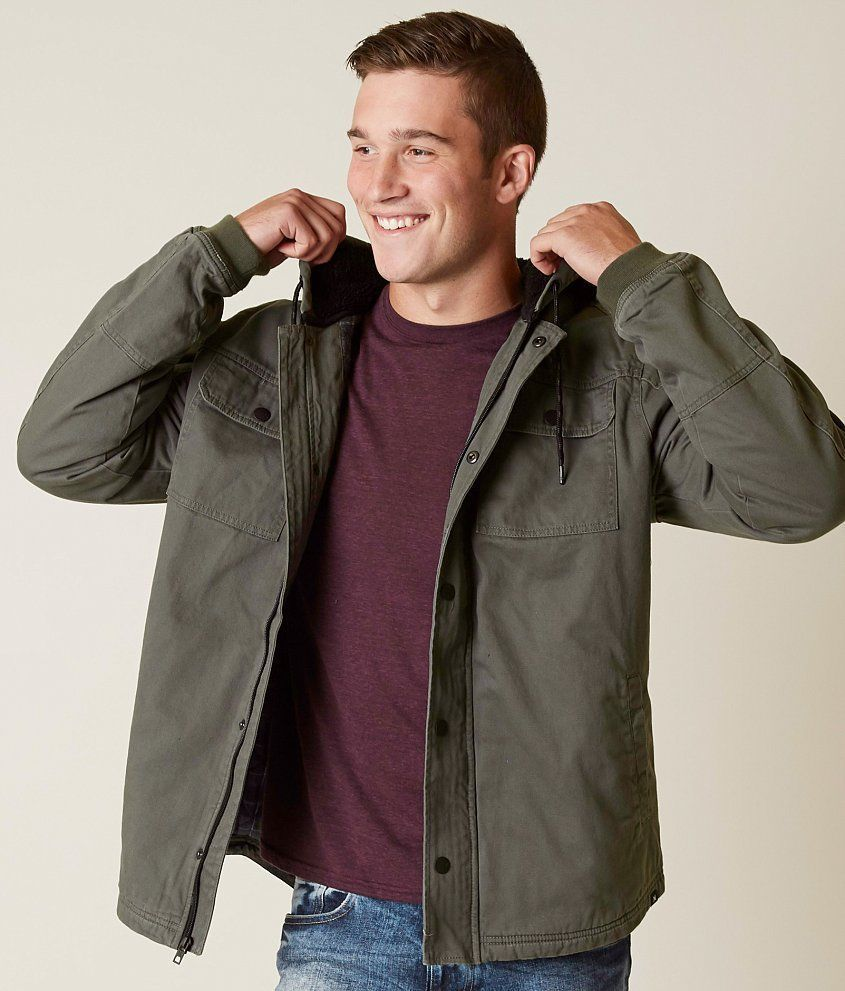 HURLEY NWT Outdoor Hooded Jacket Flannel Sherpa Lined Coat River Rock Green  L