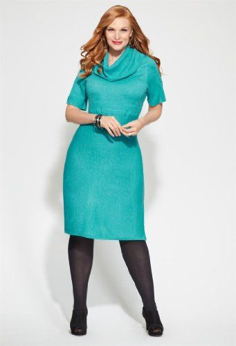 Avenue Plus Size Ribbed Cowl Neck Sweater Dress 7800 Style