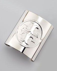 Y1H01 Tory Burch Metal Logo Cuff, Silvertone