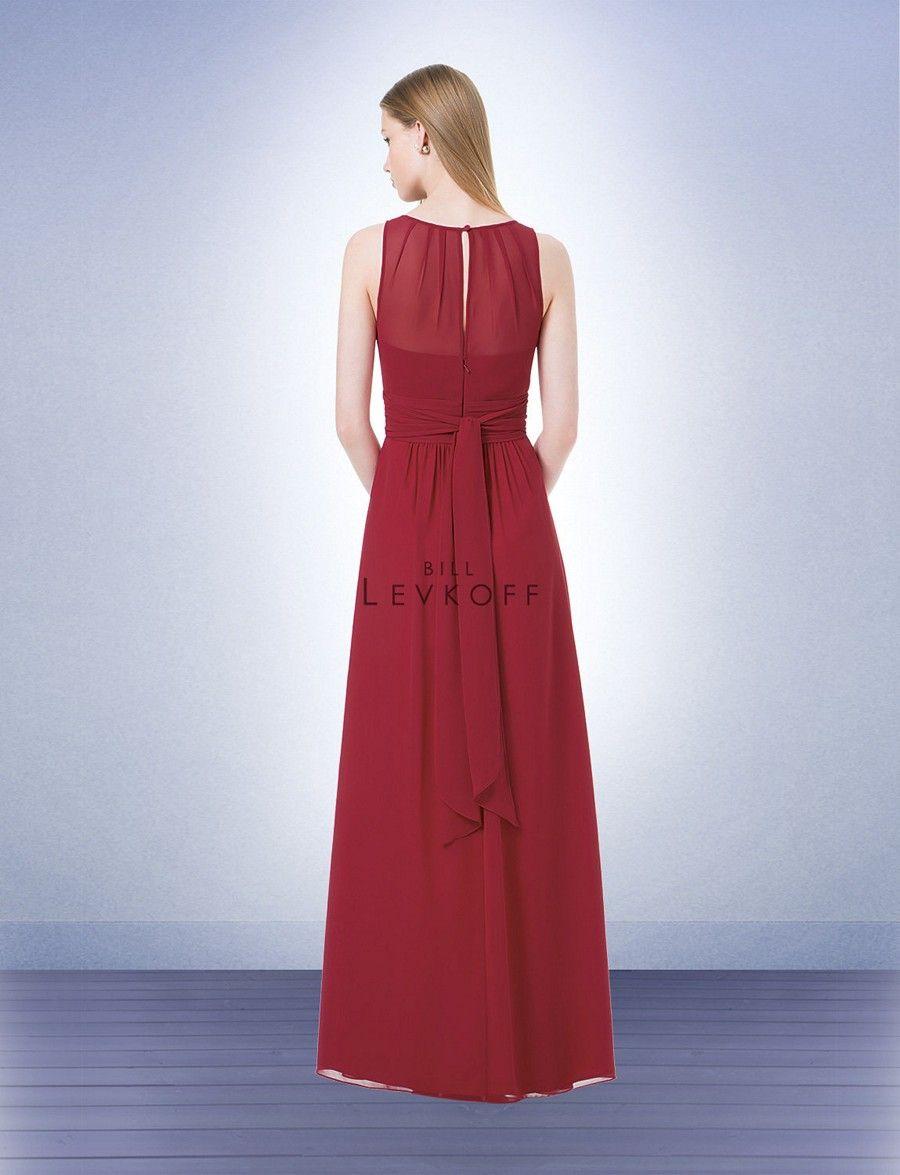 This bill levkoff chiffon bridesmaid dress features a sheer