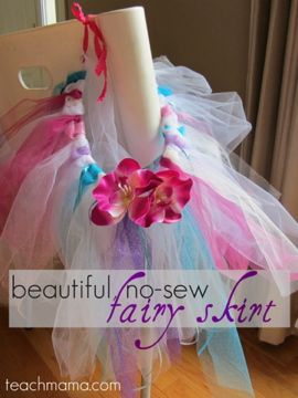 how to make beautiful, no-sew fairy skirts, perfect for pretend play, #halloweeen  #weteach