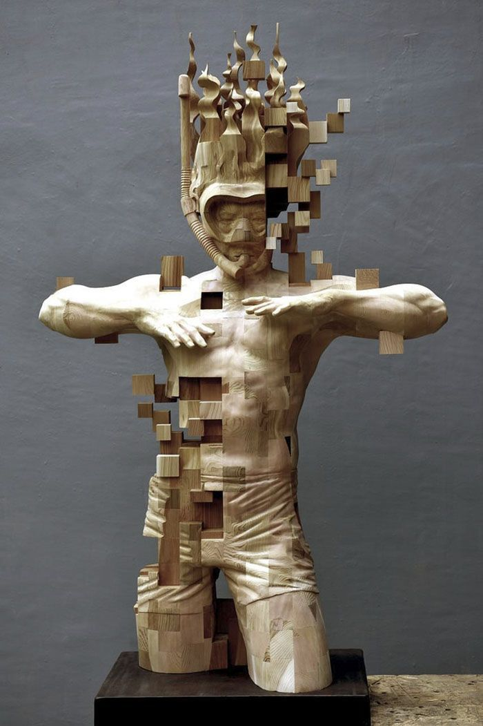 These Pixelated Sculptures That Look Like Computer Glitches Are Actually Made From Wood | Bored Panda  #sculpture #loading #pixels