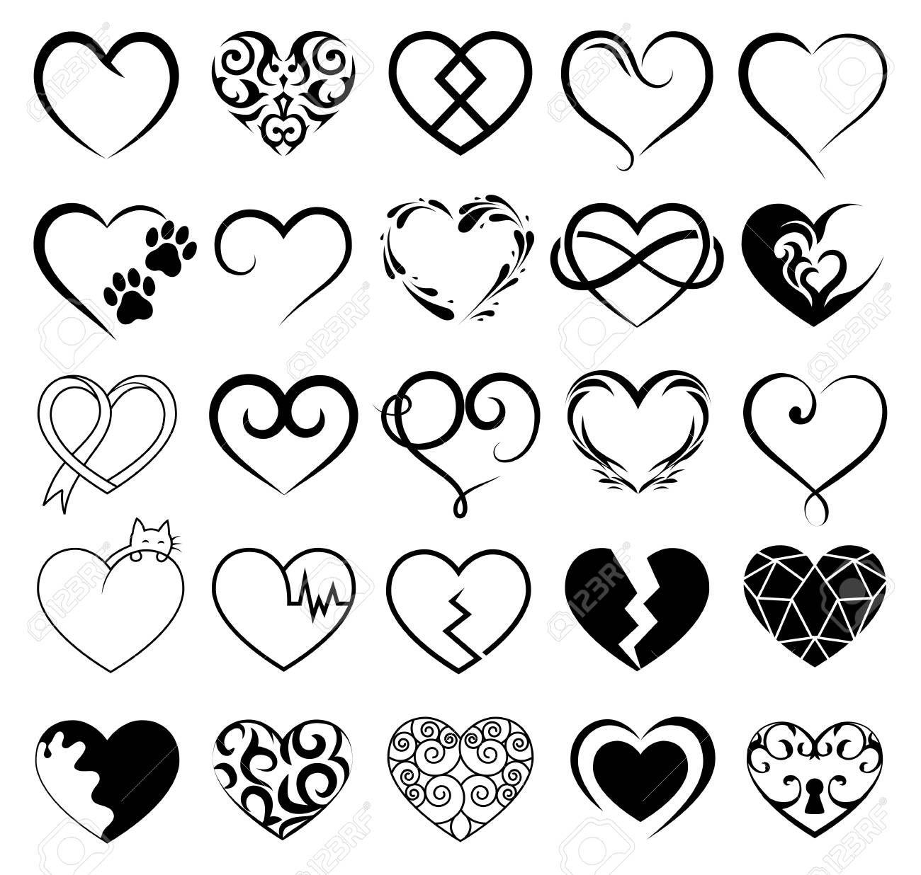 Conjunto De 25 Tatuajes Corazones Imagen Vector Simbolo Disenos De Tatuajes De Corazon Tatuaje Corazon Tatuajes Corazones Pequenos