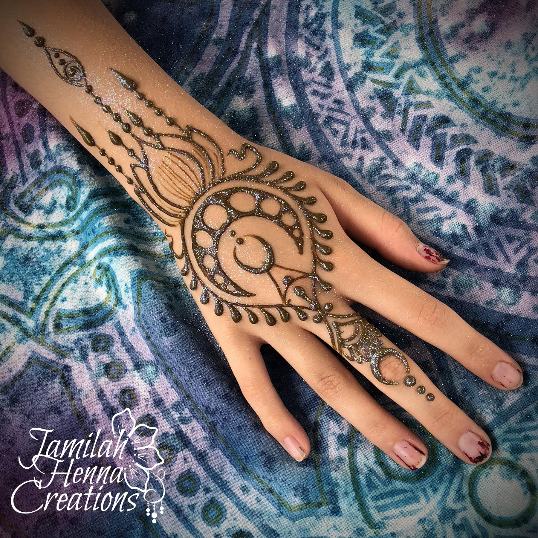 Moon And Lotus Henna Design Www Jamilahhennacreations Com Henna Tattoo Hand Henna Tattoo Designs Hand Henna Tattoo Designs
