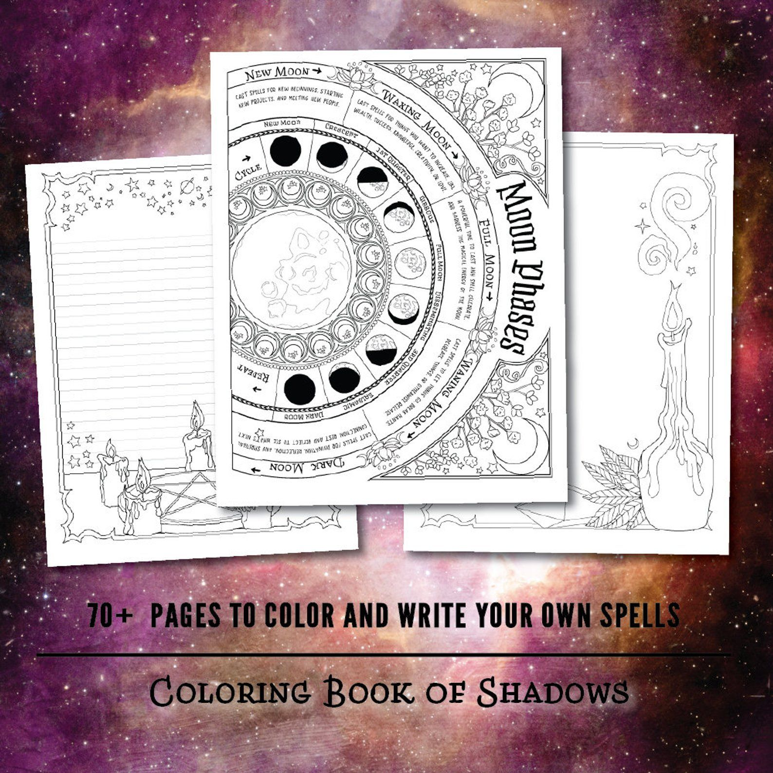 Coloring Book Of Shadows Book Of Spells Pdf Etsy