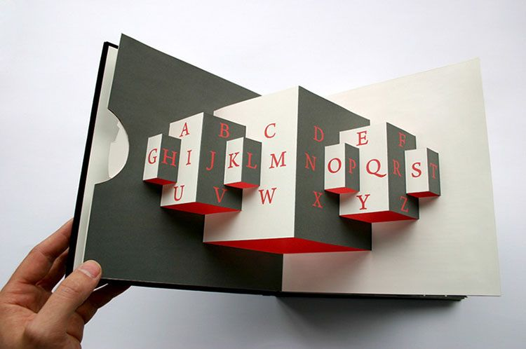 68e8ba965c0578 An admirable exploration of letterforms unfolds within Graphic Designer and  book artist Kevin Steele s interactive creation. The pop up book acts as an  ...