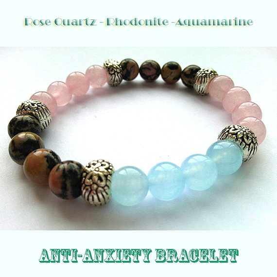 Anti Anxiety Bracelet Made With Rhodonite Pink Quartz And Aquamarine For Kit Bless Vanilla Candle In Small Ritual