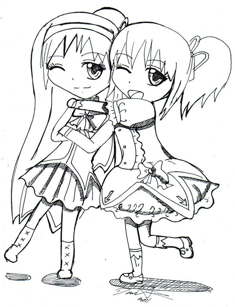 Girls Coloring Pages Free Anime Best Friends Coloring Pages For Girls Bear Coloring Pages