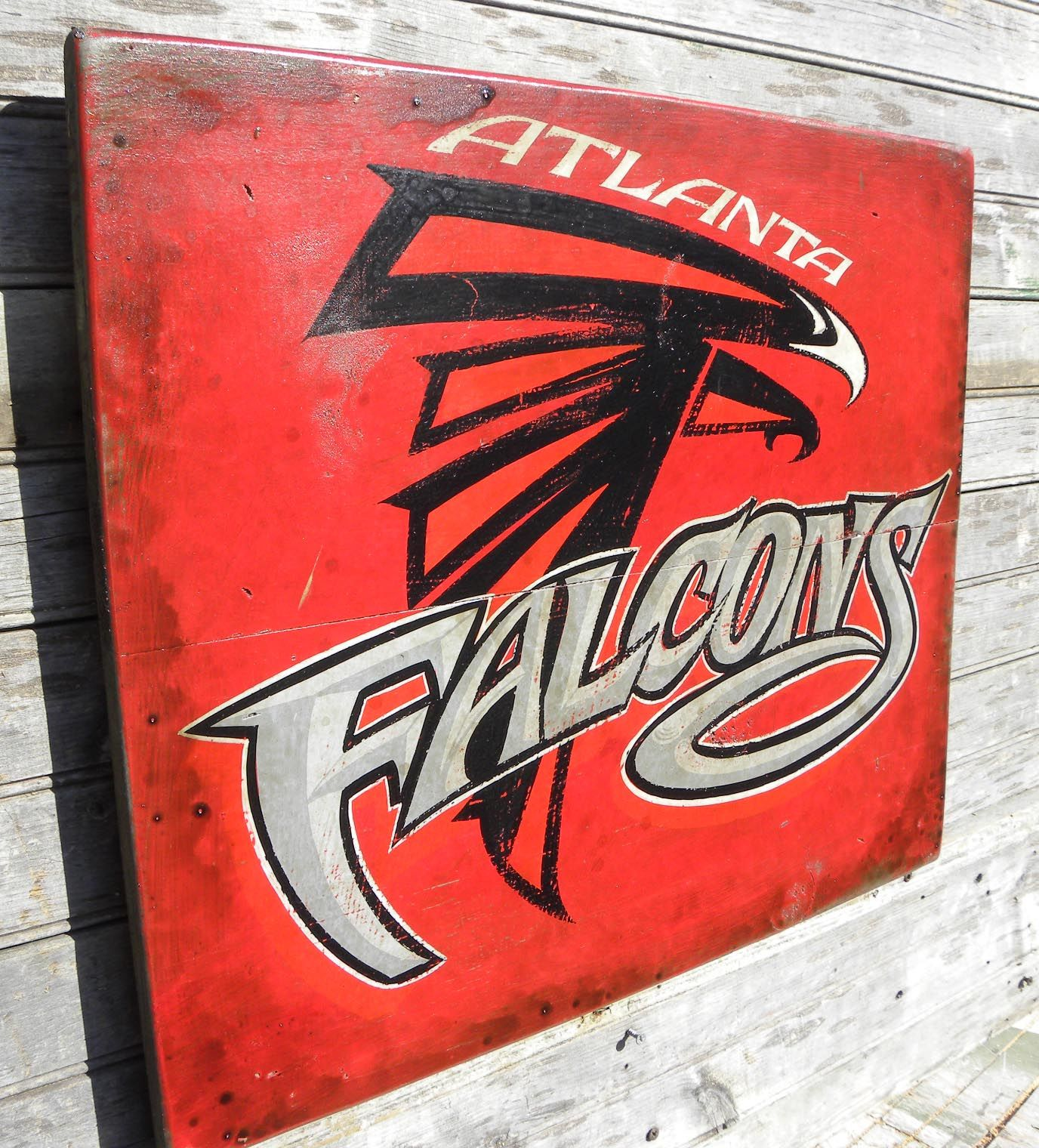 Falcon Fans Here S An Original Hand Painted Sign I Created On My Etsy Shop Zekesant Atlanta Falcons Painting Atlanta Falcons Man Cave Atlanta Falcons Memes