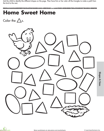 A Maze Ing Shapes Follow The Triangles Worksheet Education Com Triangle Worksheet Kindergarten Worksheets Free Preschool Worksheets