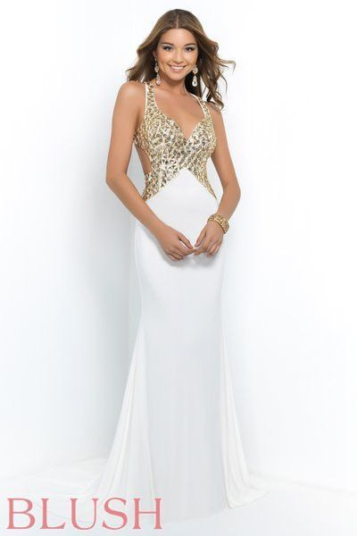 Blush prom dress 9956 White/Gold Size 6, Sale $337 | Atrevidos ...