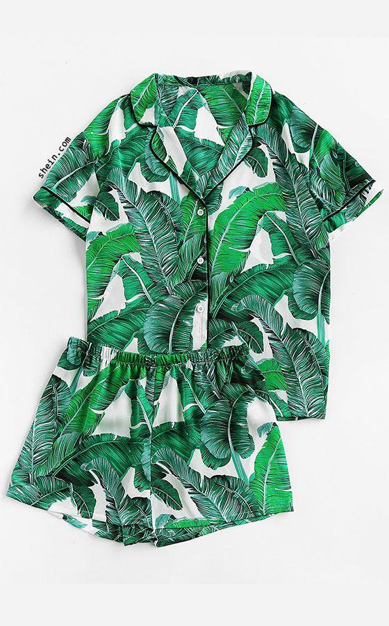 cedf5a4b3fb Palm Leaf Print Revere Collar Pajama Set