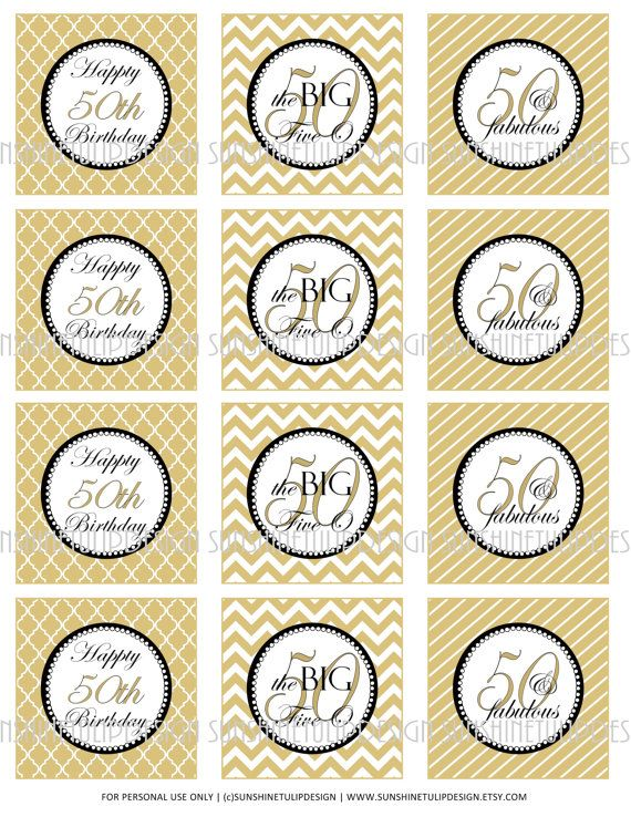 50th Birthday Printable DIY Party Tags And Cupcake Toppers By SunshineTulipdesign On Etsy 600