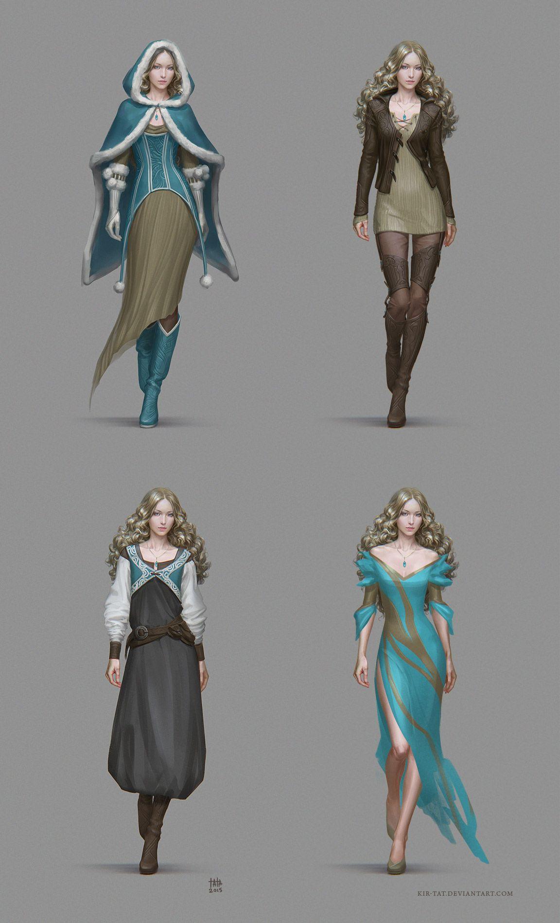 Character Design Dress Up : Dresses by kir tat dress gown hooded cloak female wizard