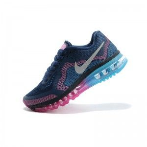 Nike Air Max 2014 Dam Loparskor Dampning Morkbla Neon Pink Gym Rod Glacier Ice Silver Chaussures Nike Chaussure Nike