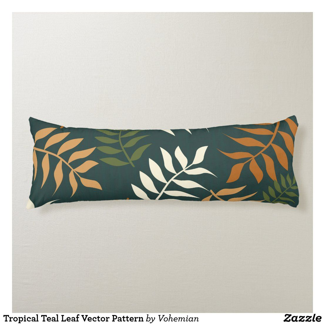 Tropical Teal Leaf Vector Pattern Body Pillow Pillow