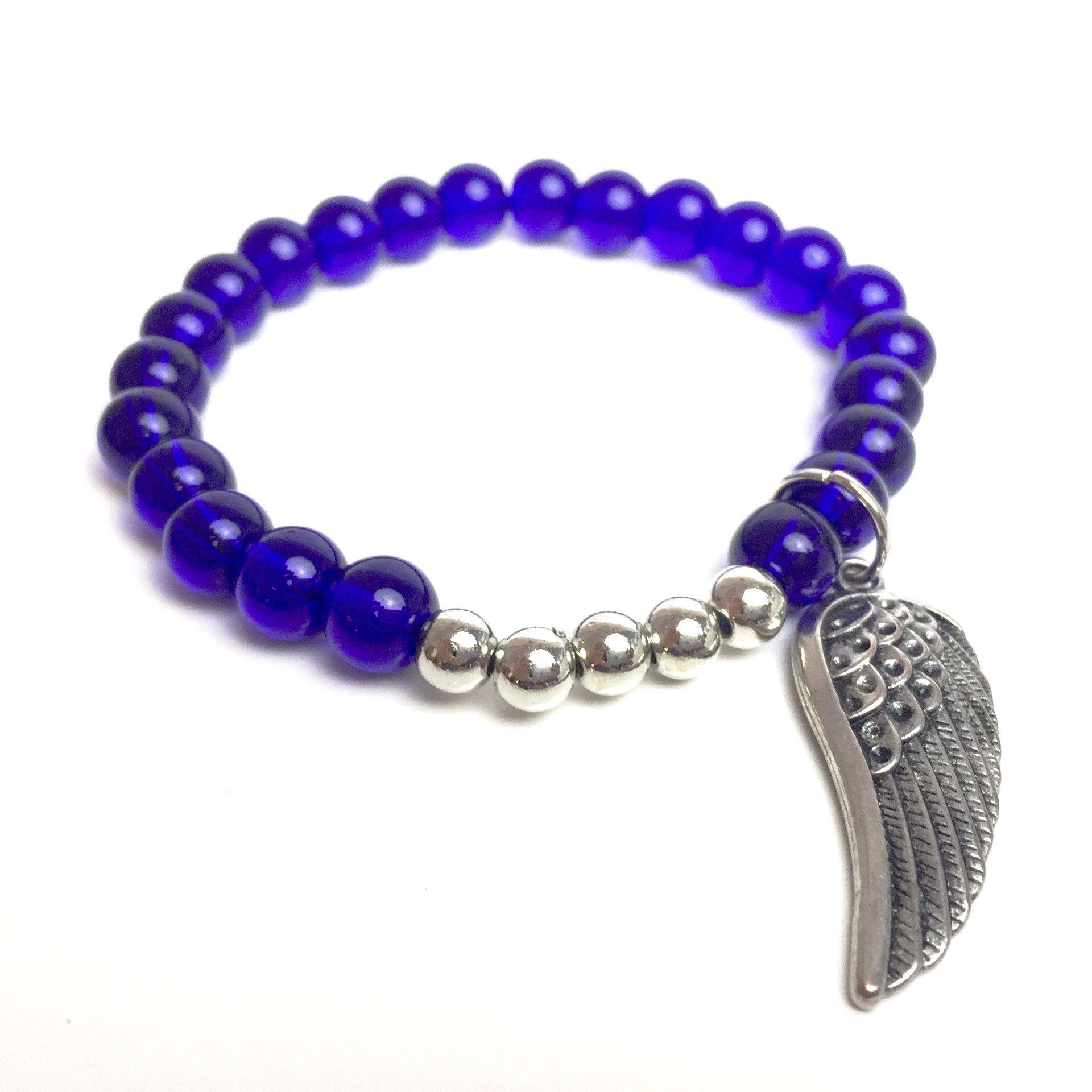 Wings to Fly Charm Bracelet with Clear Dark Blue /Indigo Czech Glass Beads