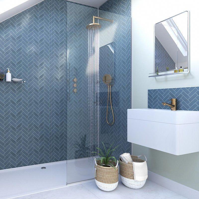 Showerwall Custom Navy Herringbone Acrylic Shower Wall Panel 1200 X 2440 Affordablekitchenandbaths In 2020 Acrylic Shower Walls Shower Wall Panels Small Shower Room