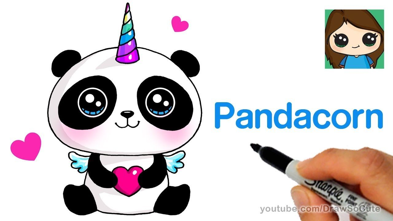 How To Draw A Pandacorn Cute And Easy Youtube Cute Animal Drawings Draw Cute Baby Animals Animal Drawings