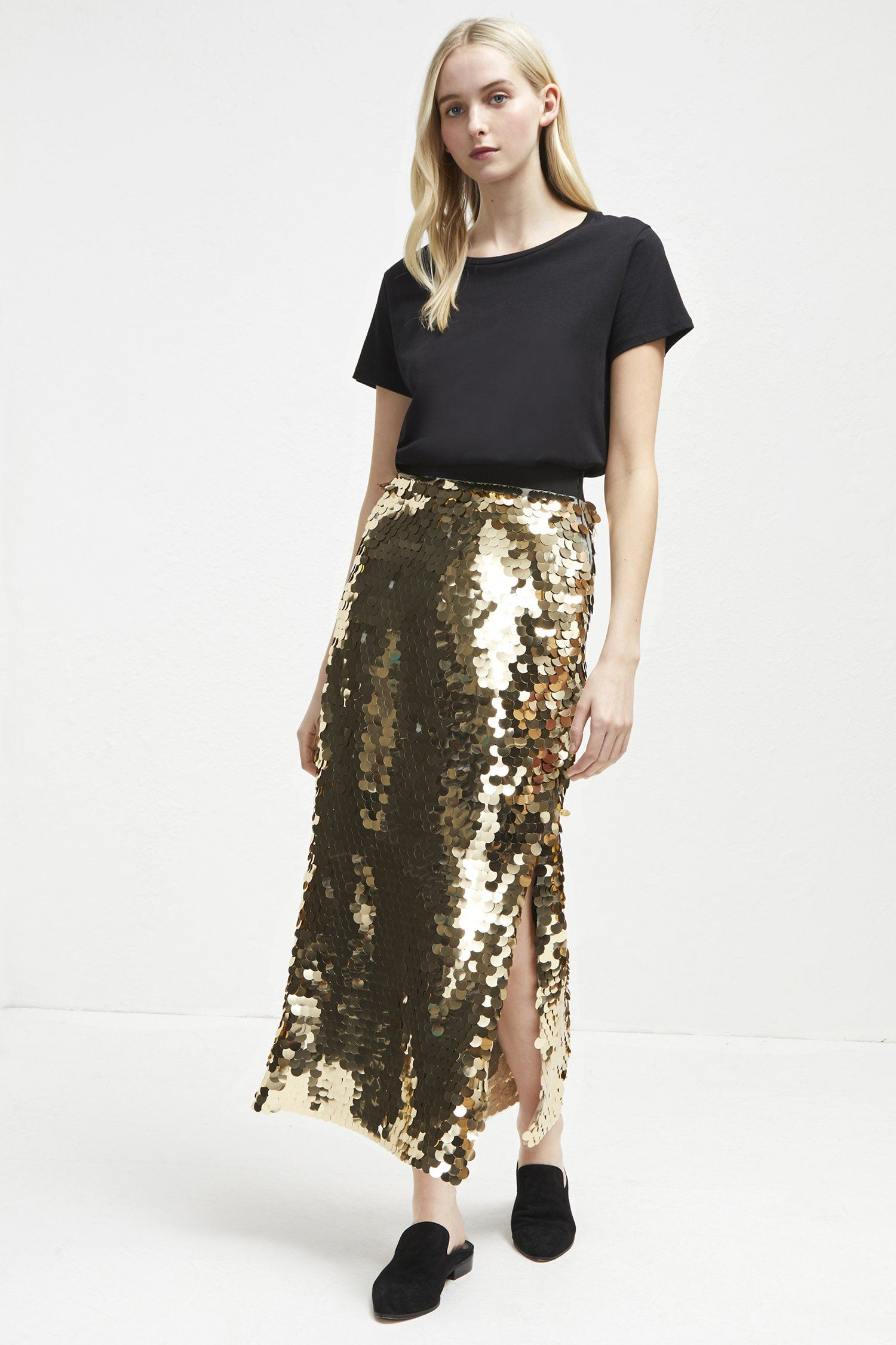ed53dfbf4 French Connection - Sequin midi skirt Fabric: embellished, midweight,  slight stretch Mid length Large gold medallion sequins Elasticated waistband