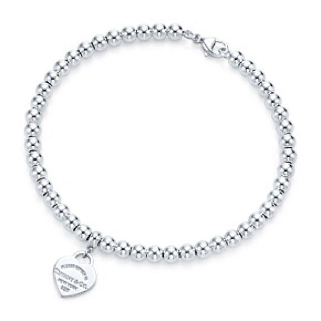Tiffany and Co Mini-Herzschloss aus Sterlingsilber mit Kugelarmband