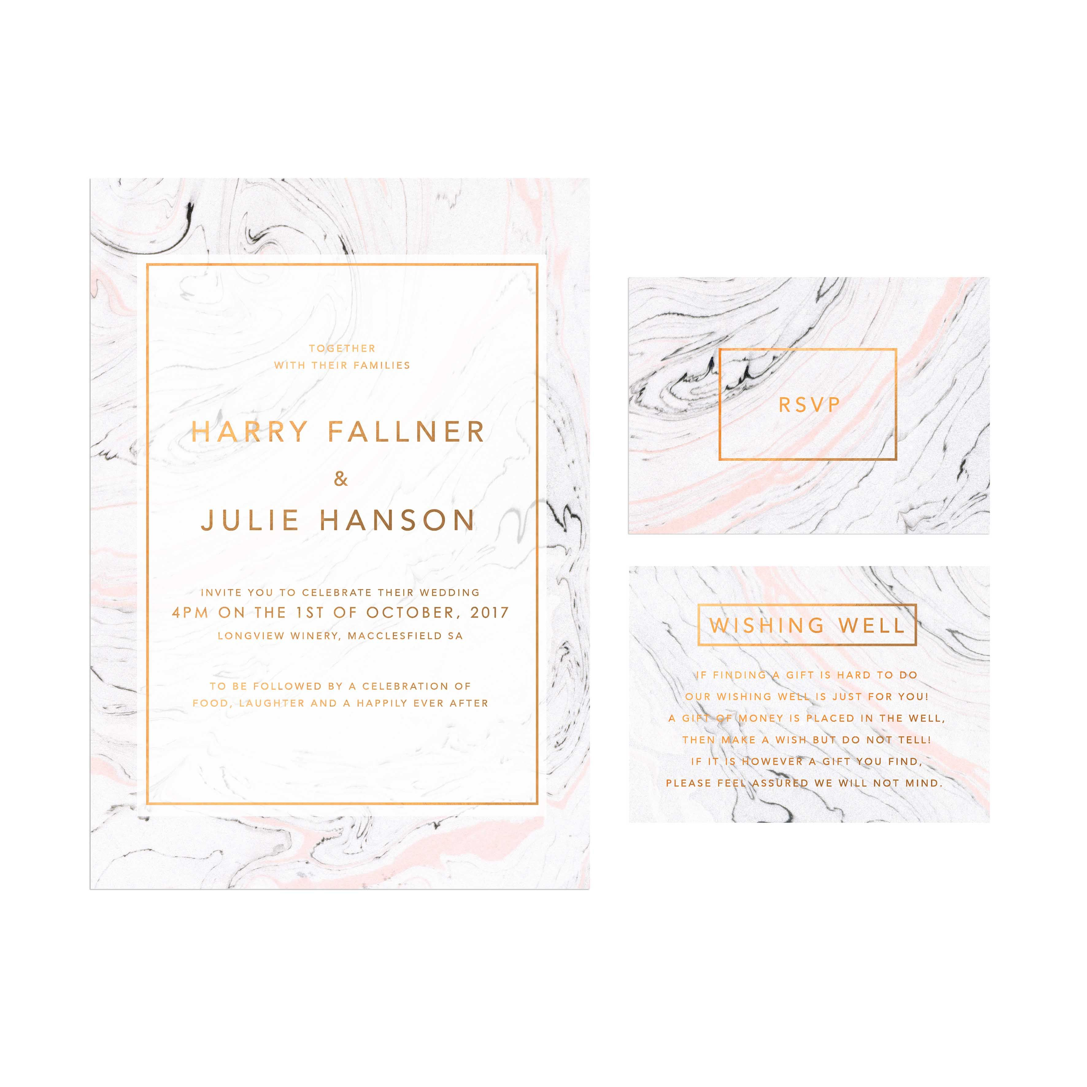 Pink Grey Marble Bronze Foil Wedding Invitations - Sail and Swan ...