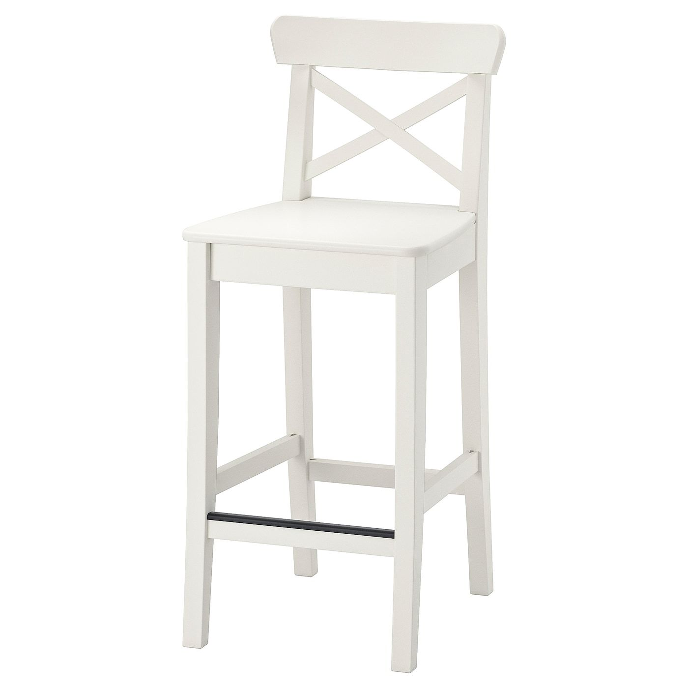 Ikea Ingolf White Bar Stool With Backrest In 2020 Bar Stools Ikea Bar White Bar Stools