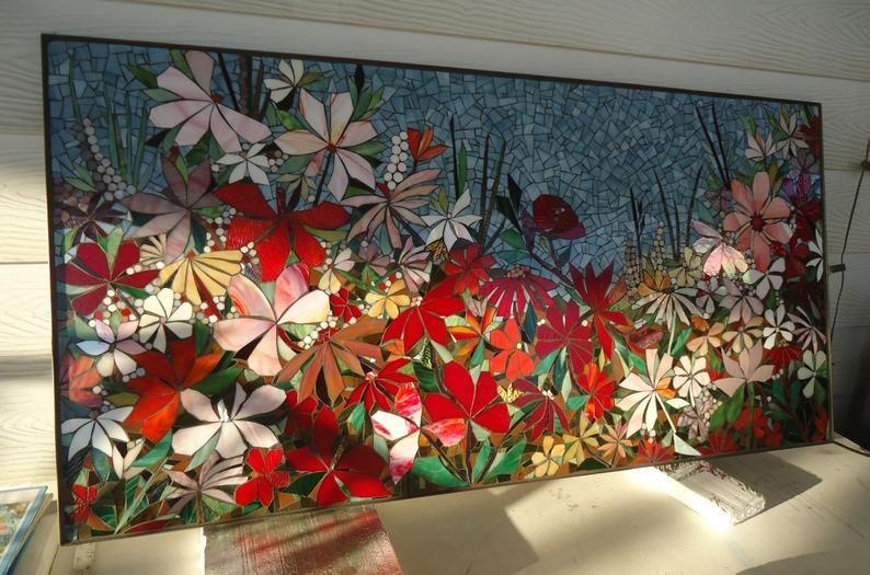 Floral Garden Mosaic Wall Art Made To Order Bathroom Wall Relief Decorative Glass Mosaic Art Panel Indoor Or Outdoor Wall Decor Mosaic Art Mosaic Wall Mosaic Wall Art