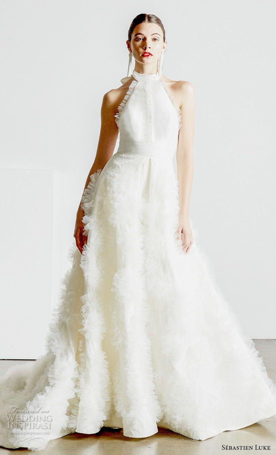 c500695e159b6 sebastien luke spring 2019 bridal halter high neck simple minimalist modern  ankle jumpsuit wedding dress a line overskirt open back chapel train (4) mv
