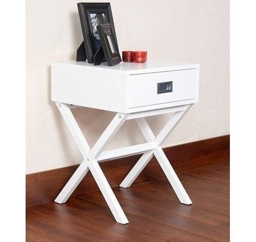 White End Table Modern Furniture Living Room Accent Side Nighstand