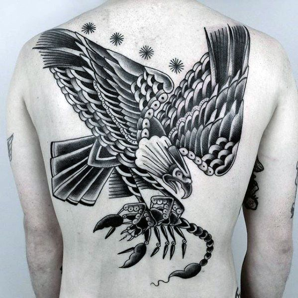 50 Eagle Back Tattoo Designs For Men Flying Bird Ink Ideas