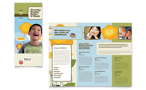 Child Development School Tri Fold Brochure Template Design - free brochure templates microsoft word