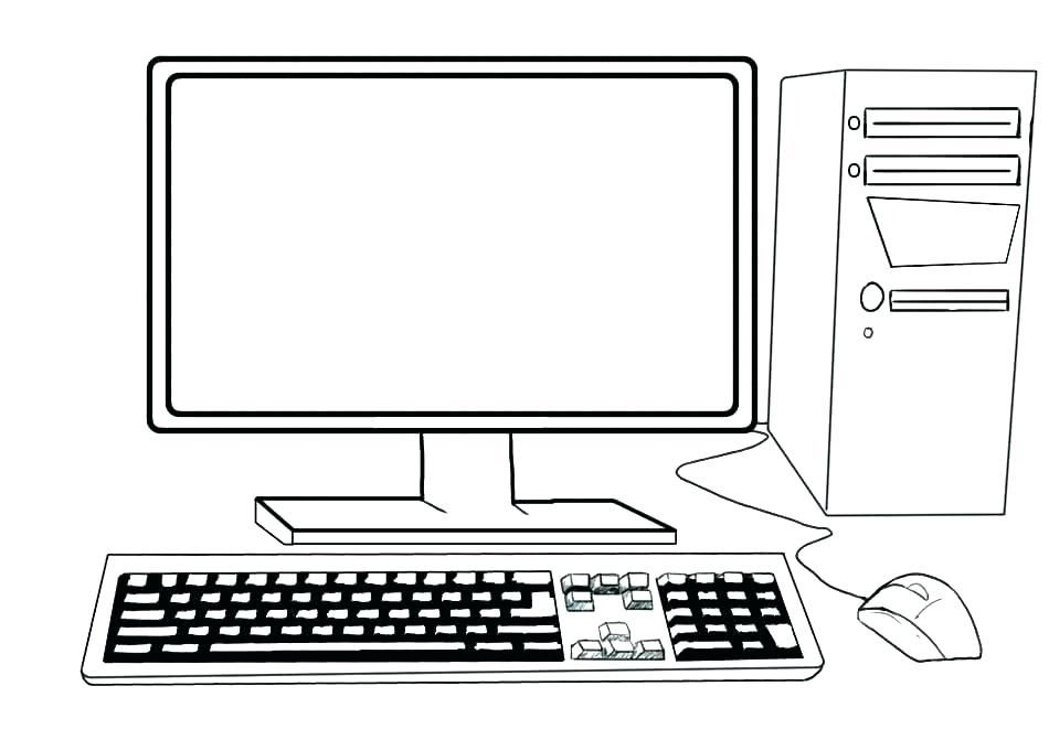 Computer Coloring Pages Kids Computer Computer Drawing