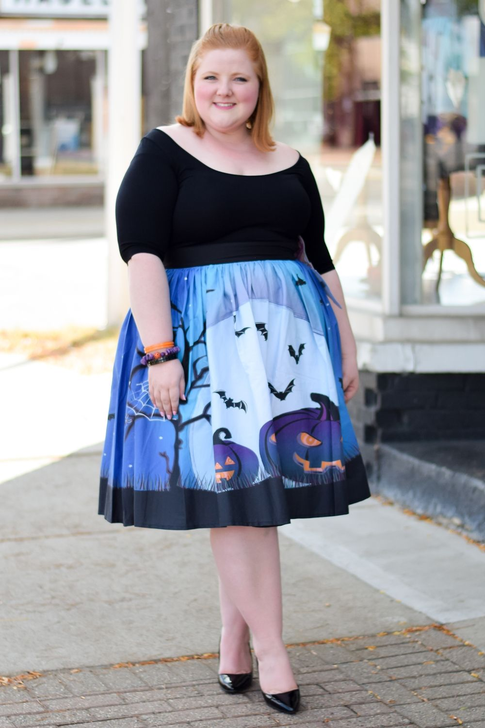 46364fcd1d4 Cute   Kitschy Halloween Style  featuring spooktacular novelty prints from  Liz Louize plus size boutique
