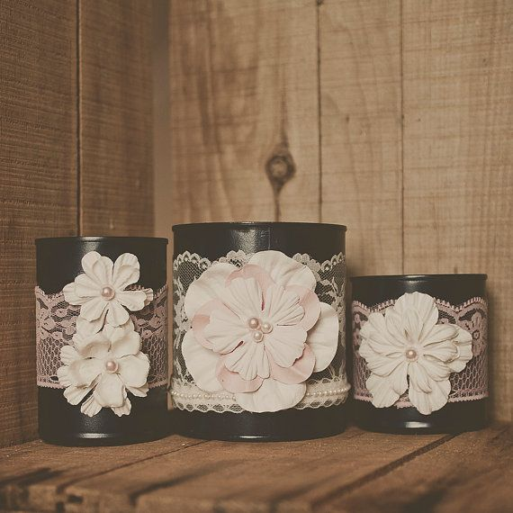 3 Painted Tin Can Pink And Navy Blue Blush Wedding Centerpiece