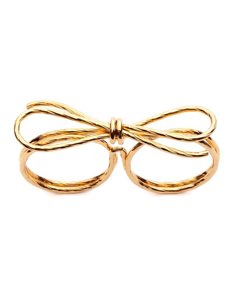 Amber Sceats | Gold Double Bow Ring