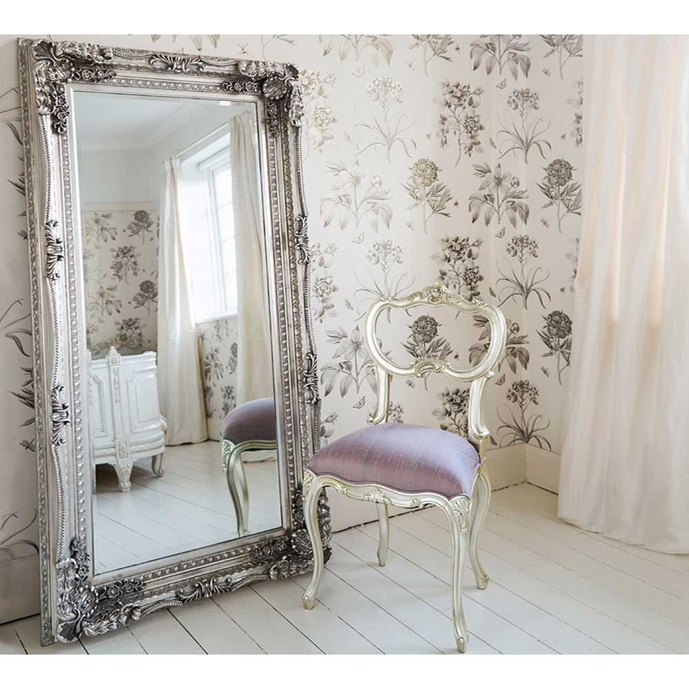 Double Framed Marquise Silver Mirror
