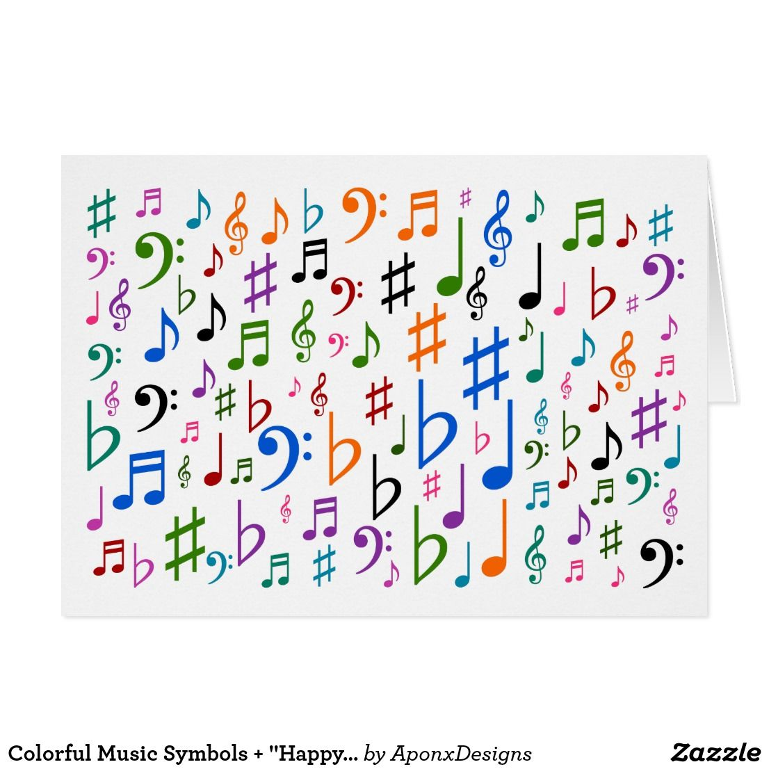 Colorful Music Symbols Happy Mother S Day Card Zazzle Com Music Symbols Mother S Day Greeting Cards Wood Wall Art