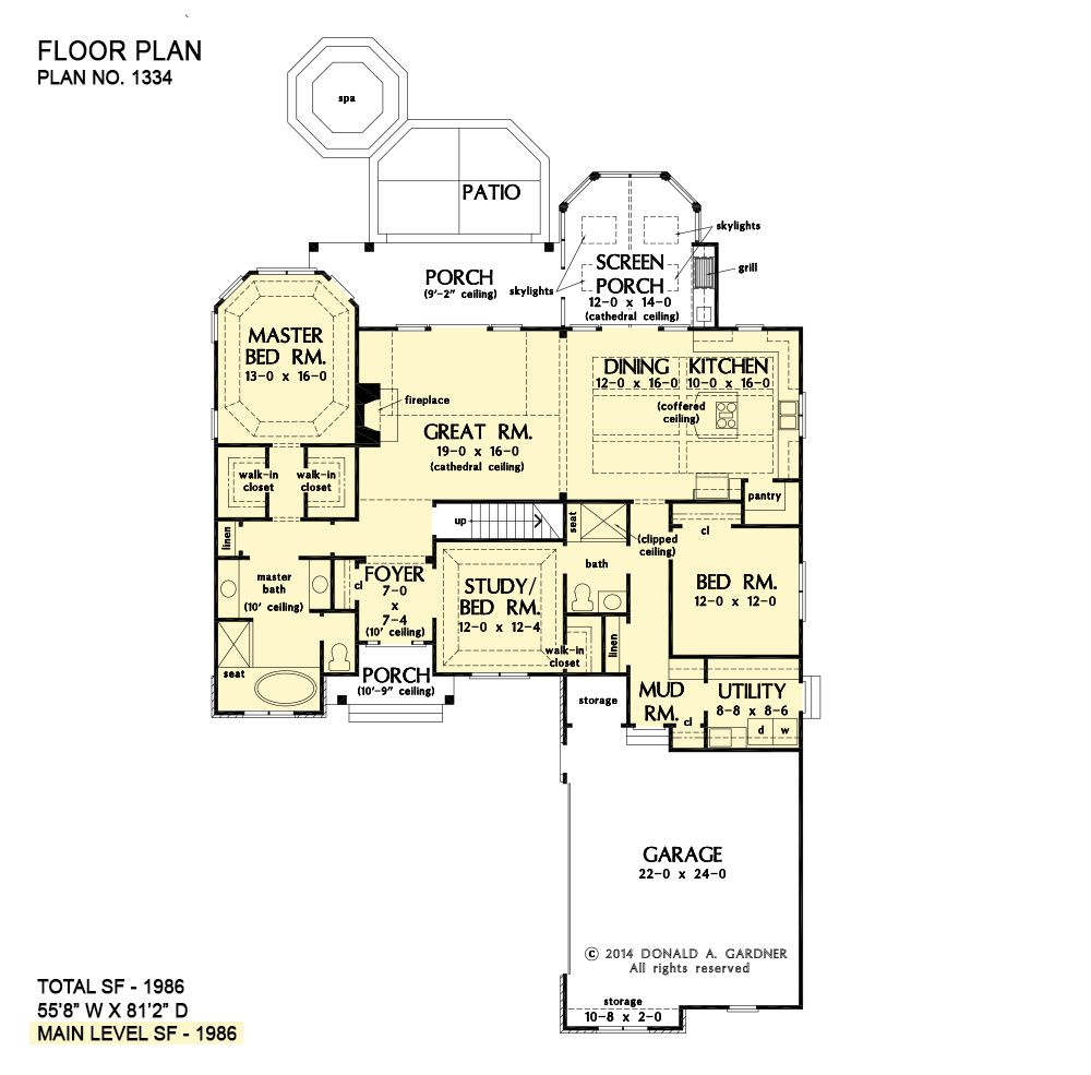 House Plan The Adrian By Donald A Gardner Architects Floor Plans House Plans One Story House Plans