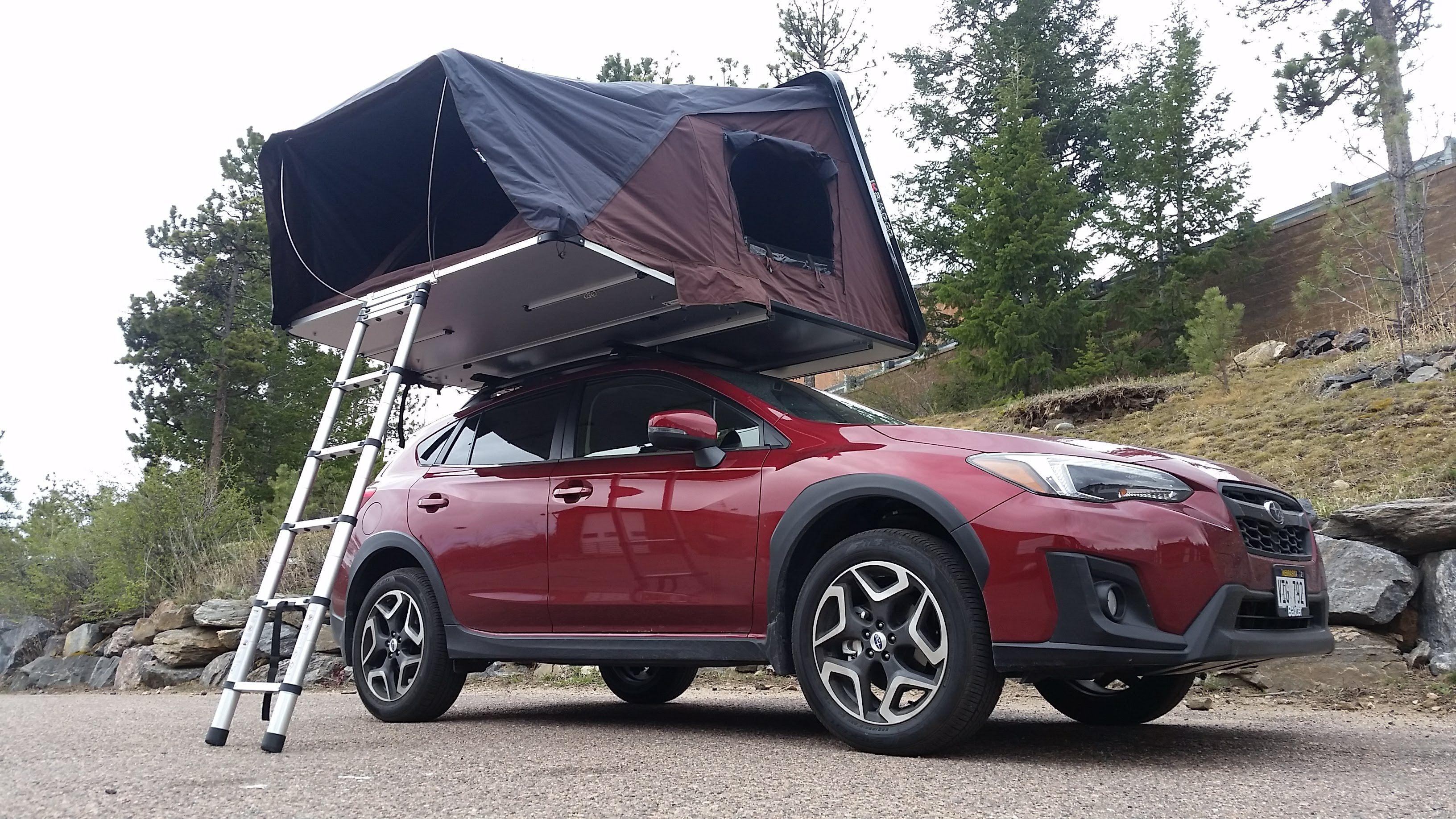 4 Person Hardshell Rooftop Tent On A Subaru Crosstrek Ikamper Skycamp Sets Up In Under 1 Minute And Has A King Size Matt Roof Top Tent Subaru Crosstrek Tent