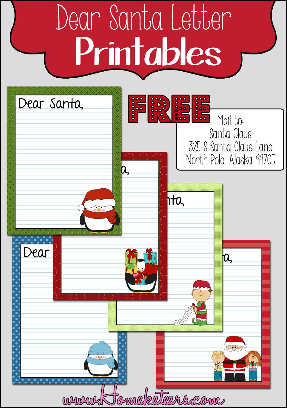 Dear Santa Letter FREE Printable Free printable santa