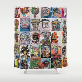 Basquiat Faces Montage Shower Curtain