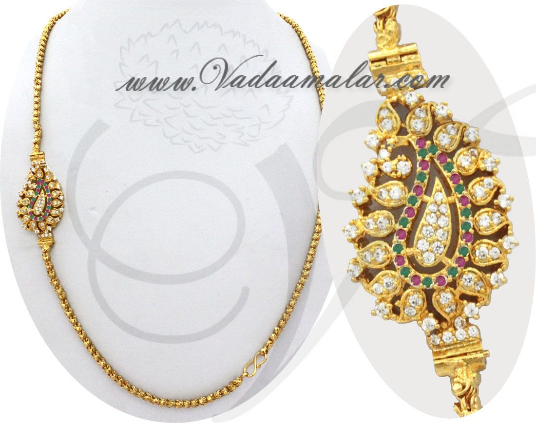 Traditional India Long Chain with Ruby Emerald Stones Mugappu Side ...