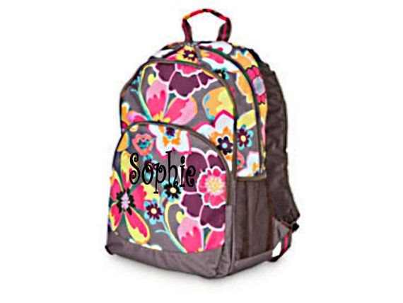 Personalized Girls Backpack - Taupe Floral School Backpack ...